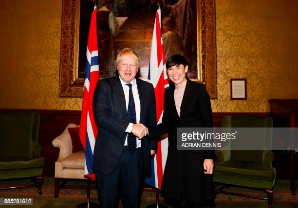 Britain's Foreign Secretary Boris Johnson shakes hands with Norway's Foreign Secretary Ine Eriksen Soreide ahead of their meeting at The Foreign and...