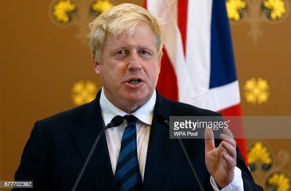 Britain's Foreign Secretary Boris Johnson speaks during a press conference with US Secretary of State John Kerry at the Foreign and Commonwealth...
