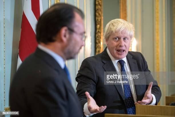 Britain's Foreign Secretary Boris Johnson speaks during a press conference with Mexican Foreign Minister Luis Videgaray on October 19 2017 in London...