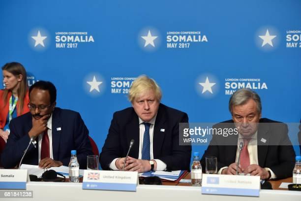 Britain's Foreign Secretary Boris Johnson United Nations Secretary General António Manuel and Somalia's President Mohamed Abdullahi Mohamed attend...