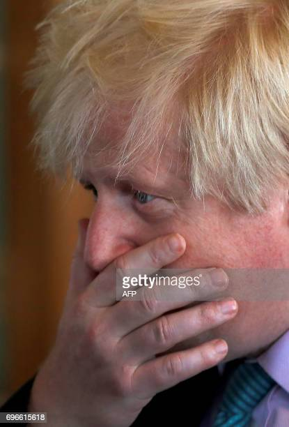 Britain's Foreign Secretary Boris Johnson waits to meet with the President of the Czech Republic Milos Zeman at the Foreign and Commonwealth Office...