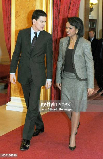 Britain's Foreign Secretary David Miliband walks with US Secretary of State Condoleezza Rice after she arrived at Lancaster House in London