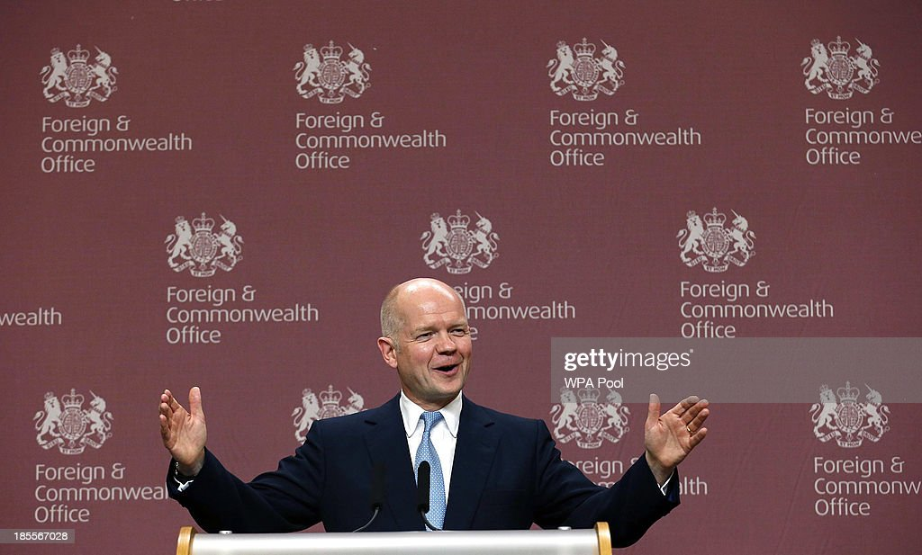 Britain's Foreign Secretary <a gi-track='captionPersonalityLinkClicked' href=/galleries/search?phrase=William+Hague&family=editorial&specificpeople=206295 ng-click='$event.stopPropagation()'>William Hague</a> speaks during a news conference at the Foreign and Commonwealth Office on October 22, 2013 in London, England. John Kerry attended a meeting, hosted by British Foreign Secretary <a gi-track='captionPersonalityLinkClicked' href=/galleries/search?phrase=William+Hague&family=editorial&specificpeople=206295 ng-click='$event.stopPropagation()'>William Hague</a> which brought together Foreign Ministers from the USA, Egypt, France, Germany, Italy, Jordan, Qatar, Saudi Arabia, Turkey and UAE as well as representatives from the Syrian National Coalition. Plans for talks to end the fighting in Syria were in jeopardy today after the opposition refused to attend unless President Bashar al-Assad is forced from power and a furious Saudi Arabia made clear it would no longer co-operate with the United States over the civil war.