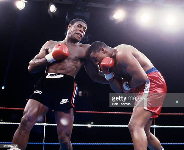 Britain's Frank Bruno on the attack against Tim Witherspoon during their WBA World Heavyweight Title fight at Wembley Stadium in London 19th July...