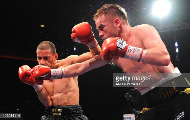 Britains Frankie Gavin competes against Curtis Woodhouse during their WBO intercontinental welterweight championship boxing match at the Echo Arena...