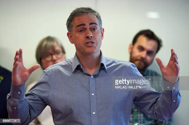 Britain's Green Party coleader Jonathan Bartley launches the Green Party's 'Green Guarantee' of key priorities for the party at a general election...