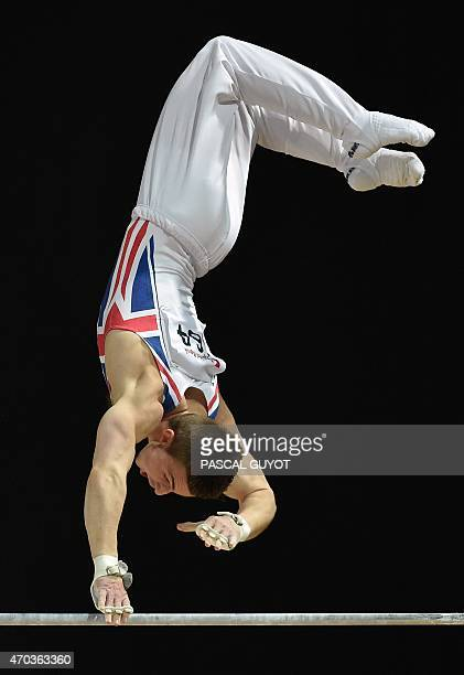 Britain's gymnast Sam Oldham competes on the horizontal bar event during the European Men's Artistic Gymnastics Individual Championships in...