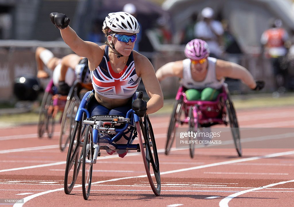 Britain's Hannah Cockroft celebrates after winning the Women's 100 m T34 final on July 22 2013 during of the IPC Athletics World Championships at the...