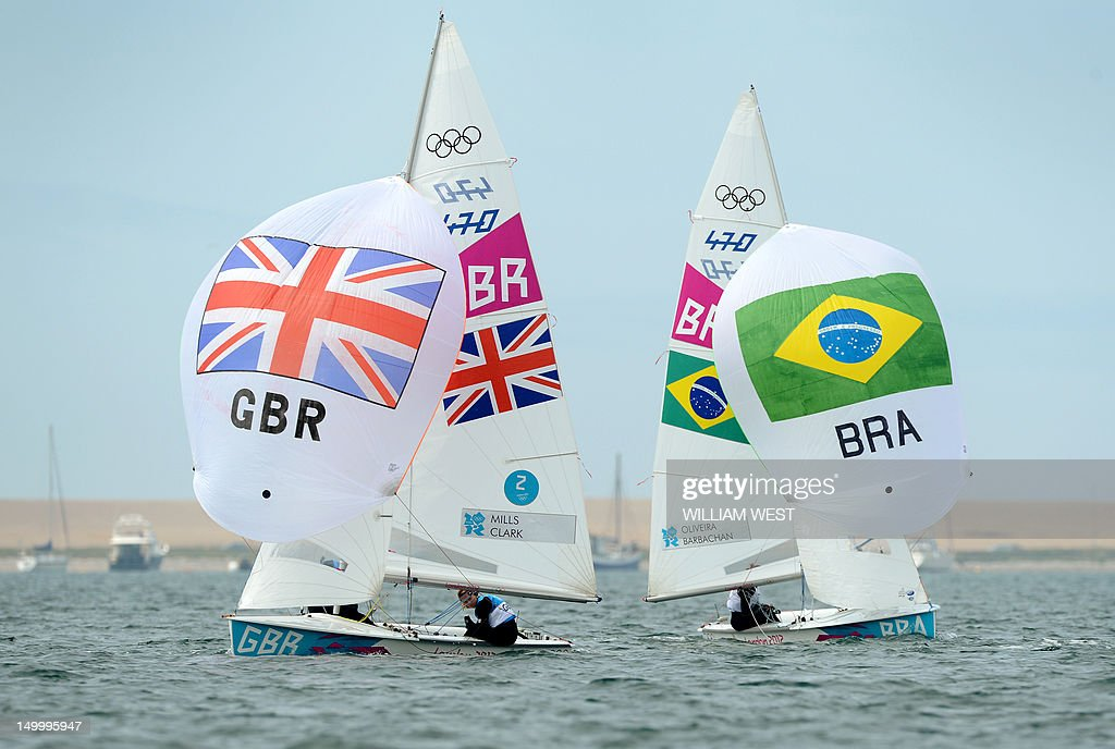 Britain's Hannah Mills and Saskia Clark duel with Brazil's Ana Barbachan and Brazil's Fernanda Oliveira in the women's 470 sailing class at the...