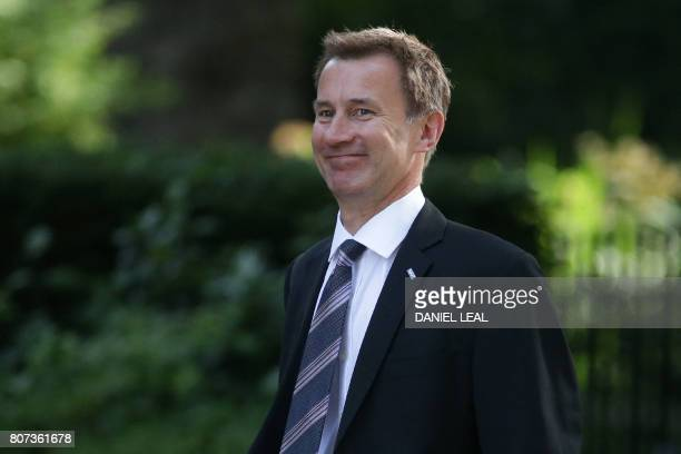 Britain's Health Secretary Jeremy Hunt arrives for a Cabinet meeting at 10 Downing Street in central London on July 4 2017 / AFP PHOTO / Daniel...