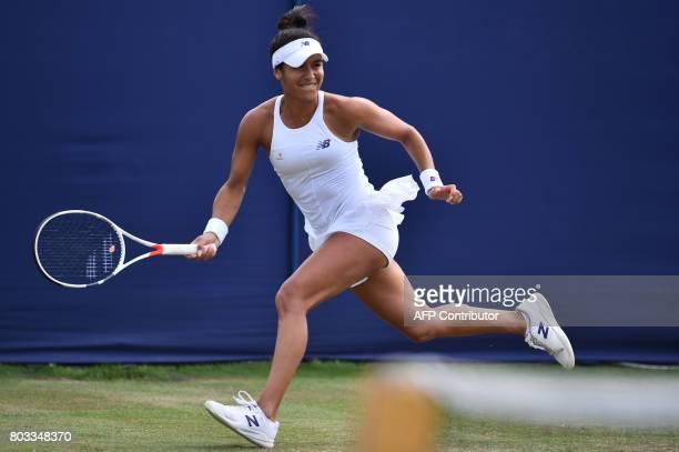 Britain's Heather Watson returns to Russia's Anastasia Pavlyuchenkova during their women's singles third round tennis match at the ATP Aegon...