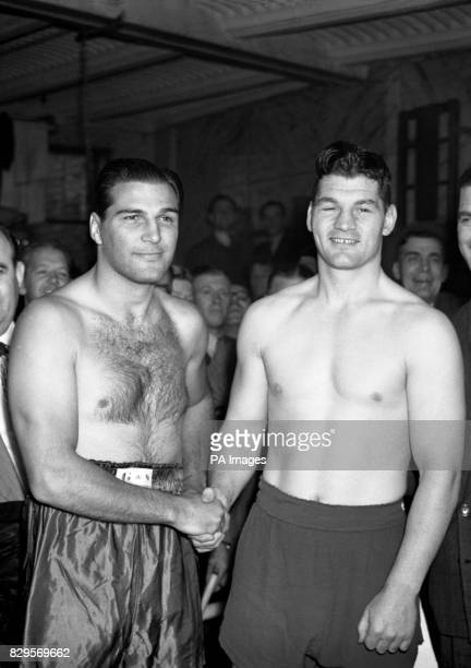 Britain's heavyweight boxing champion Bruce Woodcock and American Lee Oma