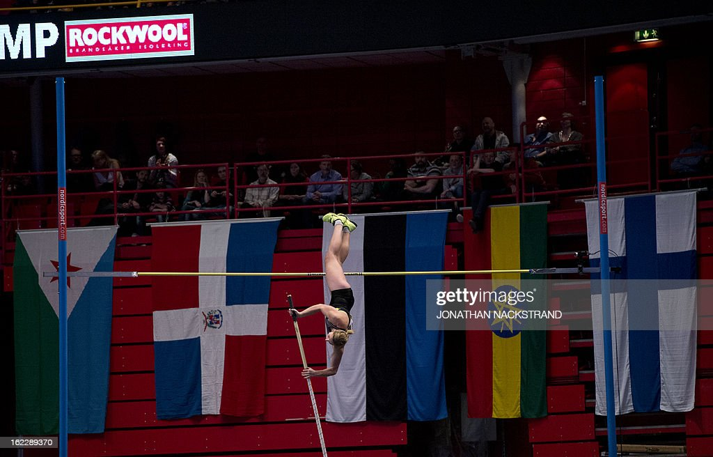 Britain's Holly Bleasdale competes during the women's pole vault event of the XL Galan Stockholm Athletics Indoor meeting on February 21, 2013 at the Ericsson Globe Arena in Stockholm.