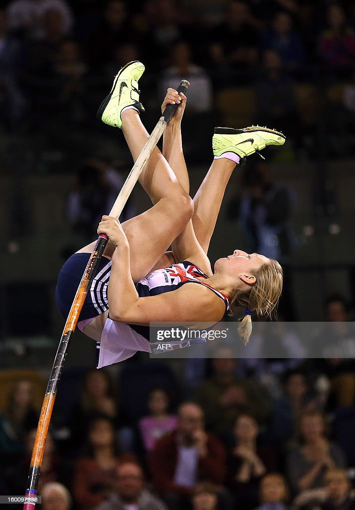 Britain's Holly Bleasdale competes in the women's Pole Vault during The British Athletics Glasgow International Match at The Emirates Arena in Glasgow, Scotland, on January 26, 2013 .