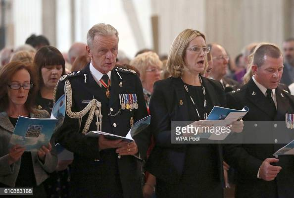 Britain's Home Secretary Amber Rudd and the Metropolitan Police Commission Bernard HoganHowe attend the National Police Memorial Service at St Paul's...