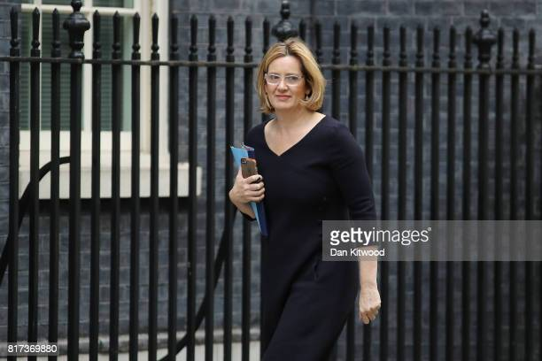 Britain's Home Secretary Amber Rudd arrives at Downing Street for the weekly cabinet meeting on July 18 2017 in London England Prime Minister Theresa...
