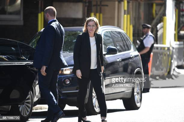 Britain's Home Secretary Amber Rudd arrives at Downing Street in central London on May 24 ahead of a meeting of the emergency Cobra committee in...
