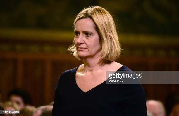 Britain's Home Secretary Amber Rudd awaits a speech from Spain's King Felipe at the Palace of Westminster on July 12 2017 in London England This is...