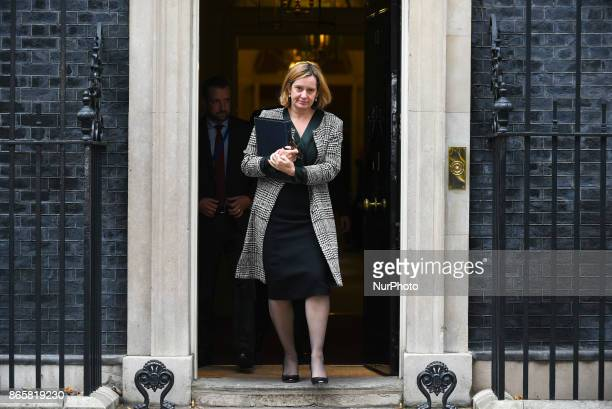 Britain's Home Secretary Amber Rudd leaves Downing street after the weekly Cabinet Meeting London on October 24 2017