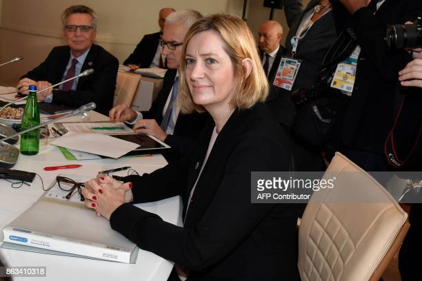 Britain's Home Secretary Amber Rudd looks on before a working session at the G7 summit of Interior Ministers with European Union representatives and...