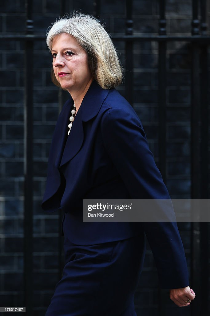 Britain's Home Secretary Theresa May arrives in Downing Street on August 28, 2013 in London, England. Prime Minister David Cameron has recalled Parliament to debate the UK's response to a suspected chemical weapon attack in Syria.