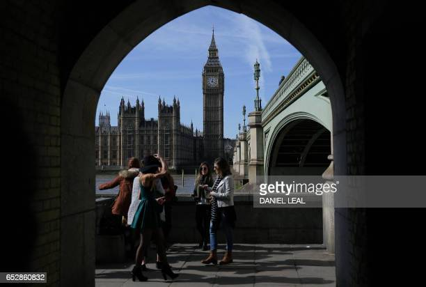 Britain's Houses of Parliament comprising the House of Commons and the House of Lords are pictured from accross the River Thames in London on March...
