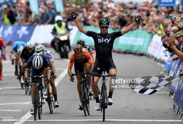 Britain's Ian Stannard of Team Sky celebrates stage four of the 2017 Herald Sun Tour cycling event in Melbourne on February 5 2017 / AFP / Mal...