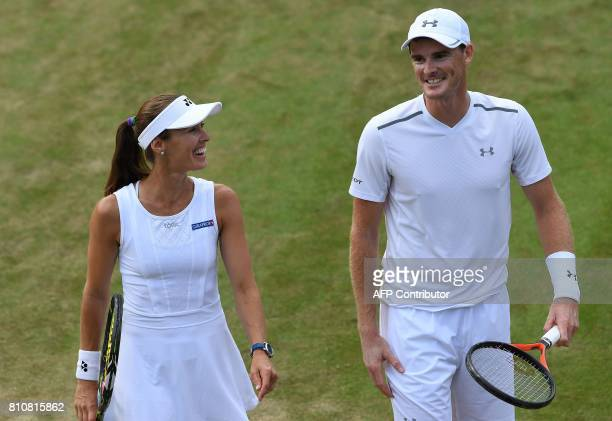 Britain's Jamie Murray and Switzerland's Martina Hingis react during their mixed doubles second round match against Britain's Anna Smith and...