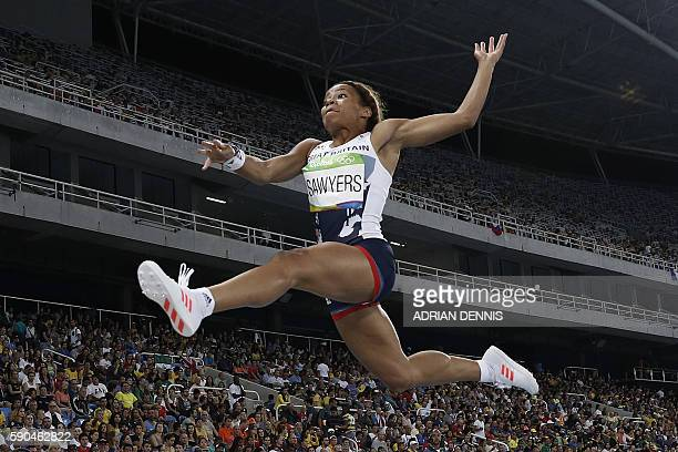 Britain's Jazmin Sawyers competes in the Women's Long Jump Qualifying Round during the athletics event at the Rio 2016 Olympic Games at the Olympic...
