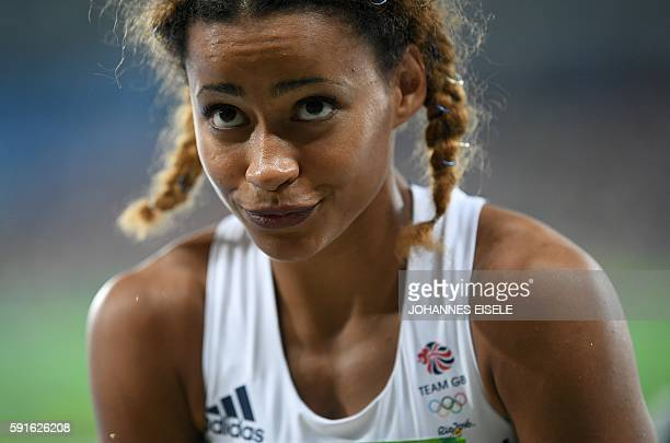 Britain's Jazmin Sawyers reacts after a jump during the Women's Long Jump Final of the athletics event at the Rio 2016 Olympic Games at the Olympic...