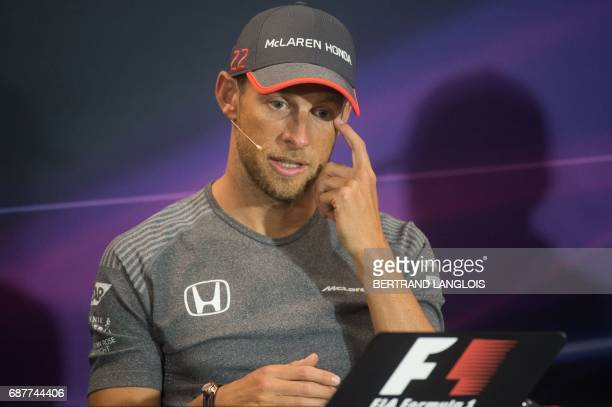 Britain's Jenson Button of McLaren Honda takes part in the drivers' press conference at the Monaco street circuit in MonteCarlo on May 24 four days...