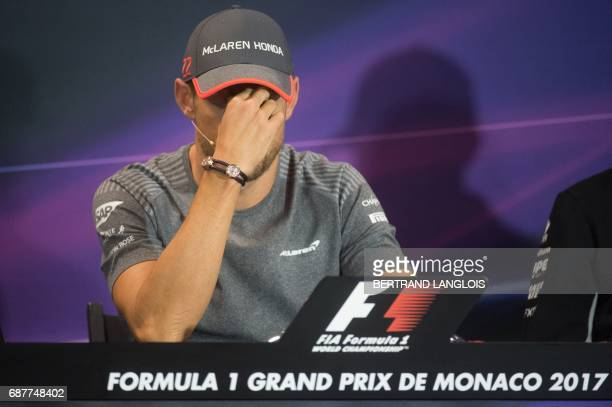 Britain's Jenson Button of McLaren Honda takes part in the Drivers Press Conference at the Monaco street circuit in MonteCarlo on May 24 2017 four...