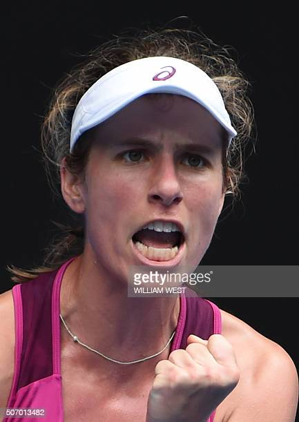 Britain's Johanna Konta celebrates a point in her women's singles match against China's Zhang Shuai on day ten of the 2016 Australian Open tennis...