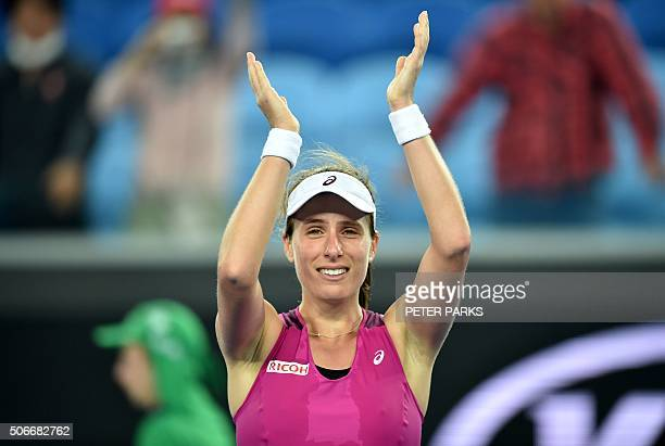 Britain's Johanna Konta celebrates after victory in her women's singles match against Russia's Ekaterina Makarova on day eight of the 2016 Australian...