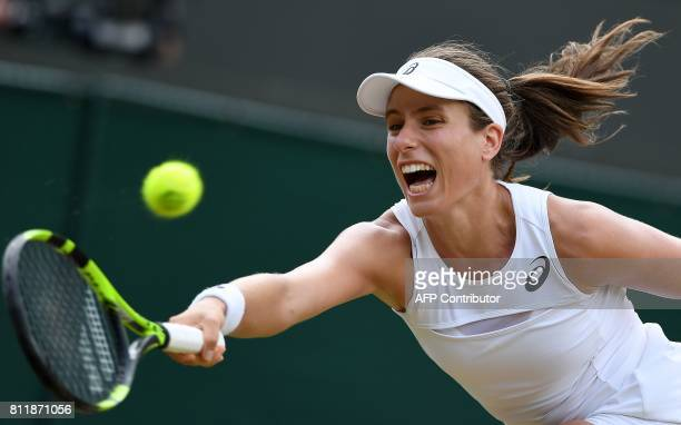 Britain's Johanna Konta France's Caroline Garcia during their women's singles fourth round match on the seventh day of the 2017 Wimbledon...