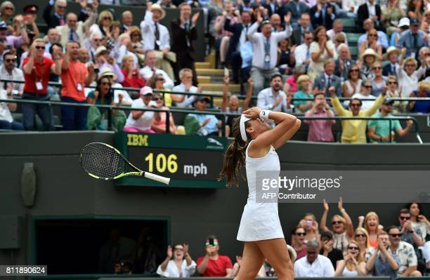 TOPSHOT Britain's Johanna Konta reacts after winning against France's Caroline Garcia during their women's singles fourth round match on the seventh...