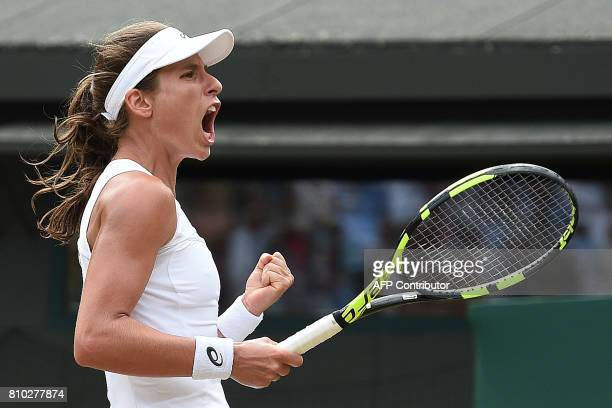 Britain's Johanna Konta reacts after winning against Greece's Maria Sakkari during their women's singles third round match on the fifth day of the...