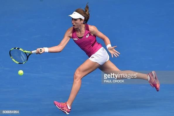Britain's Johanna Konta returns a shot during the women's singles match against Russia's Ekaterina Makarova on day eight of the 2016 Australian Open...