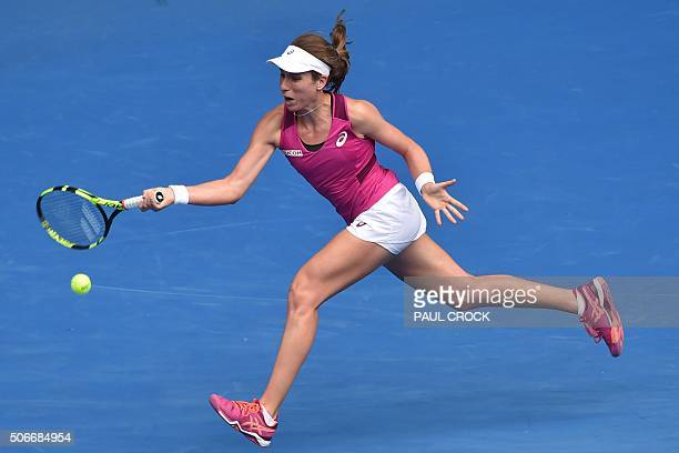 Britain's Johanna Konta returns a shot during the women's singles match against Russia's Ekaterina Makarova on day eight of the 2016 Australian Open...