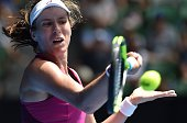 Britain's Johanna Konta returns against China's Zhang Shuai during in their women's singles on day ten of the 2016 Australian Open tennis tournament...