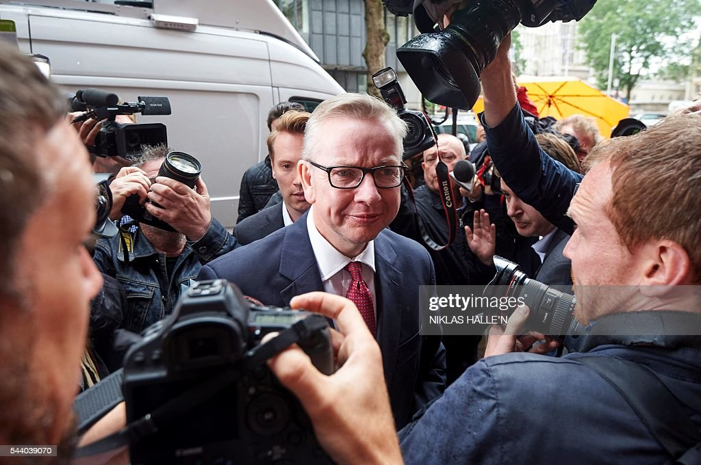 Britain's Justice Minister Michael Gove arrives to address a press conference in central London on July 1, 2016. A bespectacled intellectual with a low-key public image, Michael Gove emerged as an unlikely force behind the Brexit campaign and a wily political player after rebelling against his former friend and ally, Prime Minister David Cameron. / AFP / NIKLAS HALLE'N