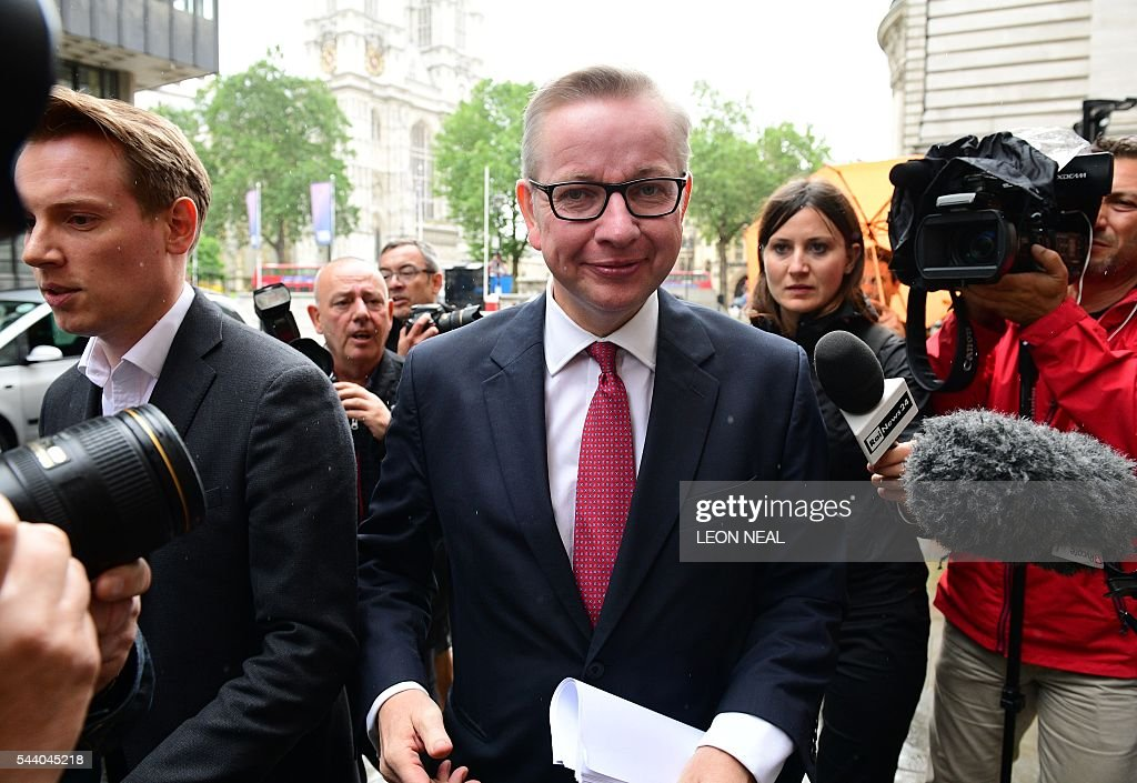 Britain's Justice Minister Michael Gove arrives to address a press conference in central London on July 1, 2016. A bespectacled intellectual with a low-key public image, Michael Gove emerged as an unlikely force behind the Brexit campaign and a wily political player after rebelling against his former friend and ally, Prime Minister David Cameron. / AFP / LEON