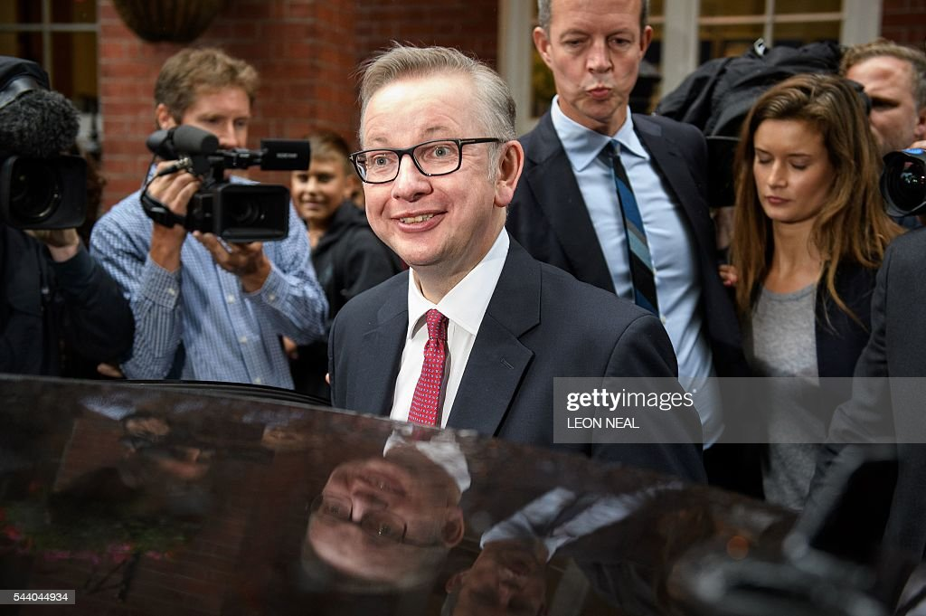 Britain's Justice Minister Michael Gove leaves after addressing a press conference in central London on July 1, 2016. A bespectacled intellectual with a low-key public image, Michael Gove emerged as an unlikely force behind the Brexit campaign and a wily political player after rebelling against his former friend and ally, Prime Minister David Cameron. / AFP / LEON