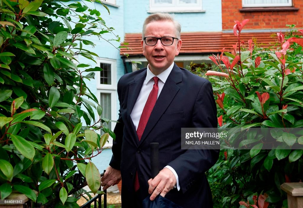 Britain's Justice Minister Michael Gove leaves his home in London on July 1, 2016. A bespectacled intellectual with a low-key public image, Michael Gove emerged as an unlikely force behind the Brexit campaign and a wily political player after rebelling against his former friend and ally, Prime Minister David Cameron. / AFP / NIKLAS HALLE'N
