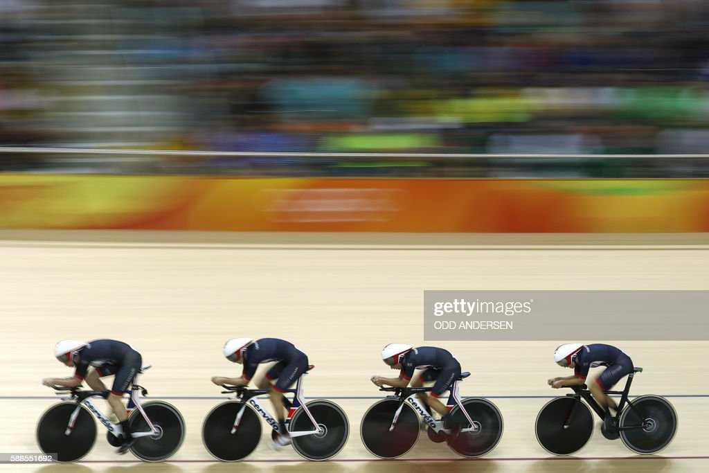 TOPSHOT Britain's Katie Archibald Britain's Elinor Barker Britain's Joanna RowsellShand and Britain's Laura Trott compete in the women's Team Pursuit...