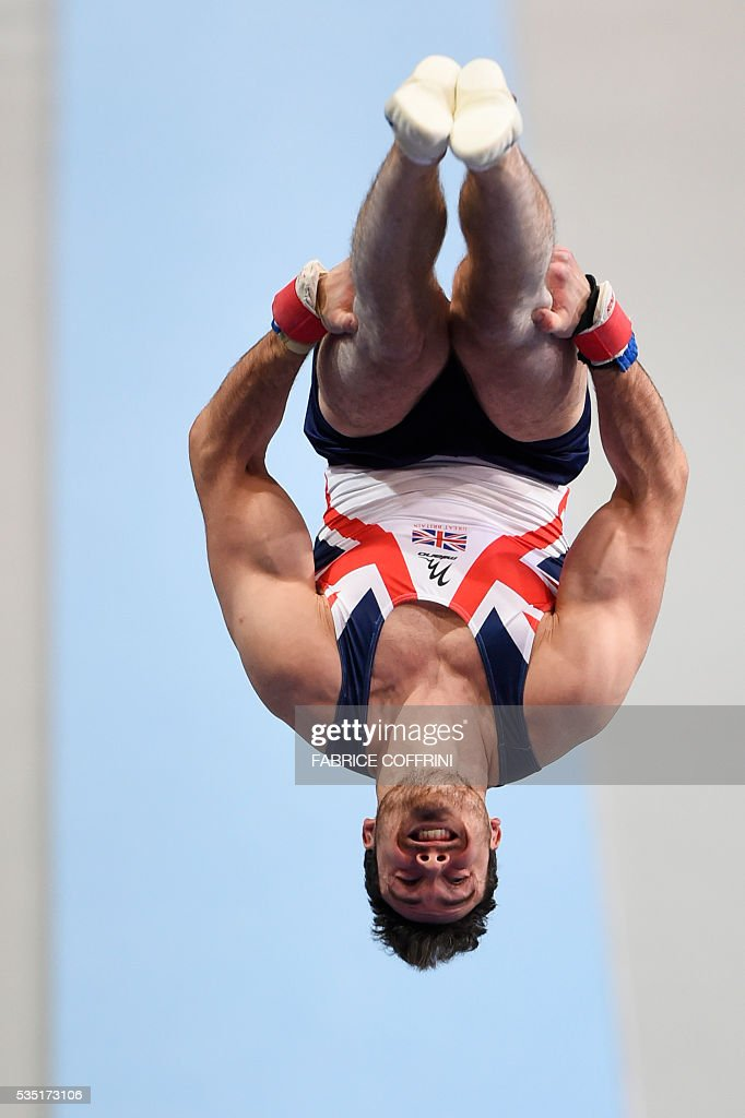 Britains Kristian Thomas performs during the Mens Vault competition of the European Artistic Gymnastics Championships 2016 in Bern, Switzerland on May 29, 2016. / AFP / FABRICE