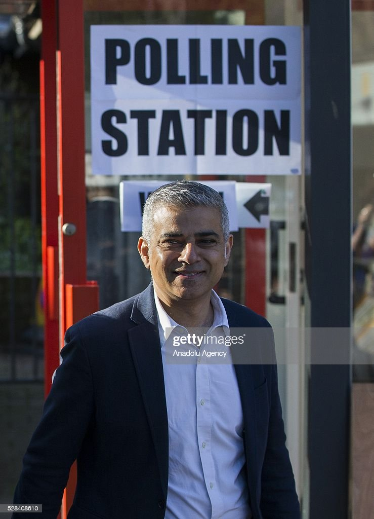 Britain's Labour Candidate for Mayor of London Sadiq Kahn leaves polling station after casting his vote, in south London, United Kingdom on May 5, 2016.