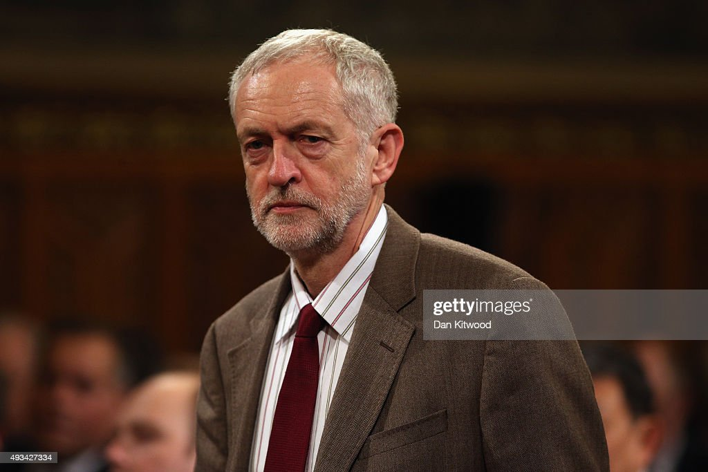 Britain's Labour leader Jeremy Corbyn arrives to listen to China's President Xi Jinping address MPs and peers in Parliament's Royal Gallery on...