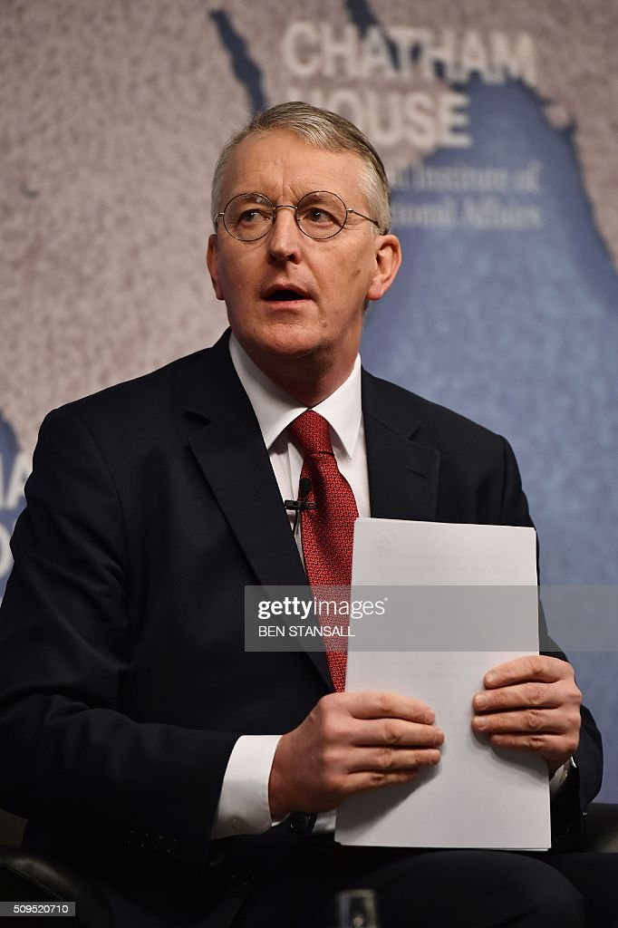 Britain's Labour Party Shadow Foreign Secretary, Hilary Benn, delivers a speech on 'The Internationalist Case for Europe' at Chatham House in central London, on February 11, 2016. / AFP / BEN STANSALL