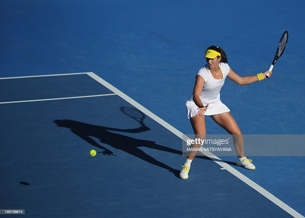 Britain's Laura Robson plays a return during her women's singles match against Sloane Stephens of the US on the sixth day of the Australian Open tennis tournament in Melbourne on January 19, 2013.